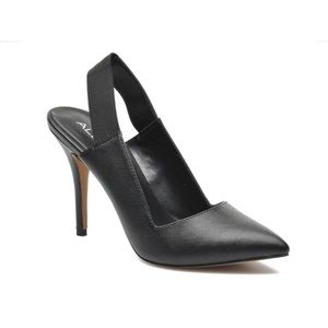 Brand New- ALDO Black Leather Slingback Pumps